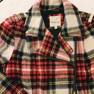 Heritage 1981 Jackets & Coats - Red plaid wool moto jacket